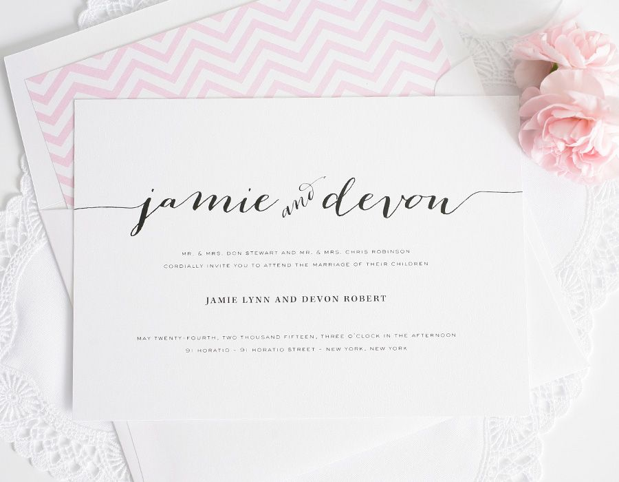 Wedding Invitations With Unique Script Names And A Pink Envelope