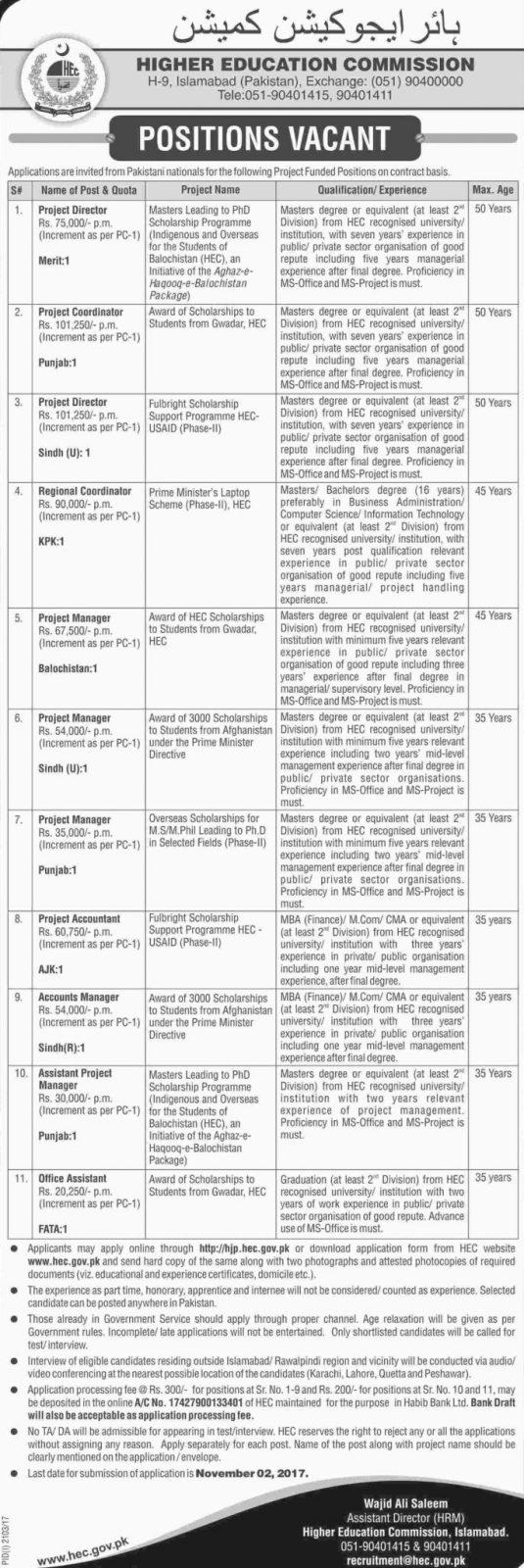 Higher Education Commission Pakistan Jobs Hec Jobs  October