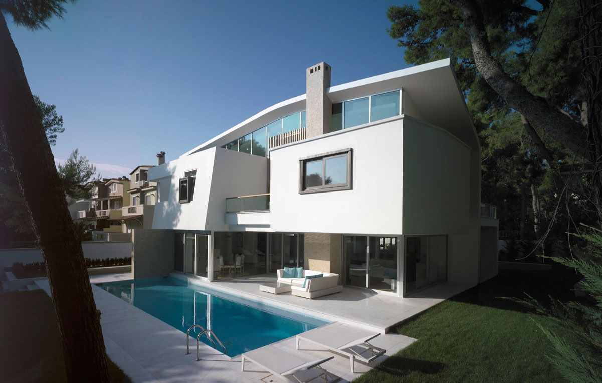 Architects also house in ekali by thanos athanasopoulos exterior design rh pinterest