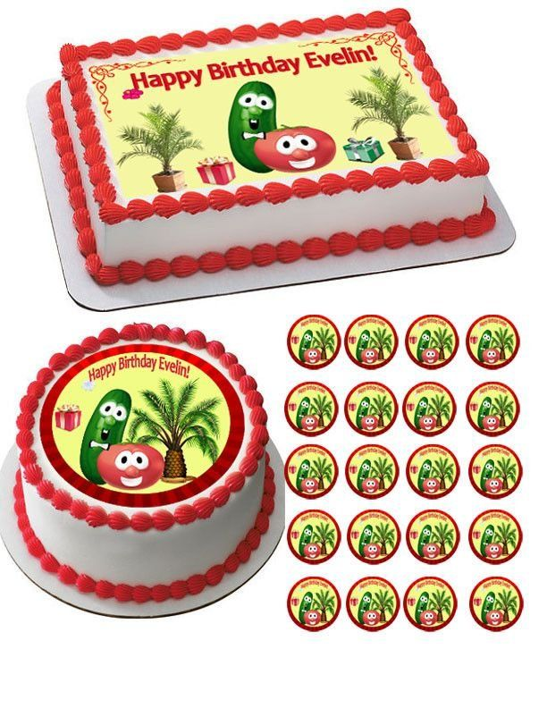 Veggie Larry and Bob Edible Birthday Cake Topper OR Cupcake Topper, Decor
