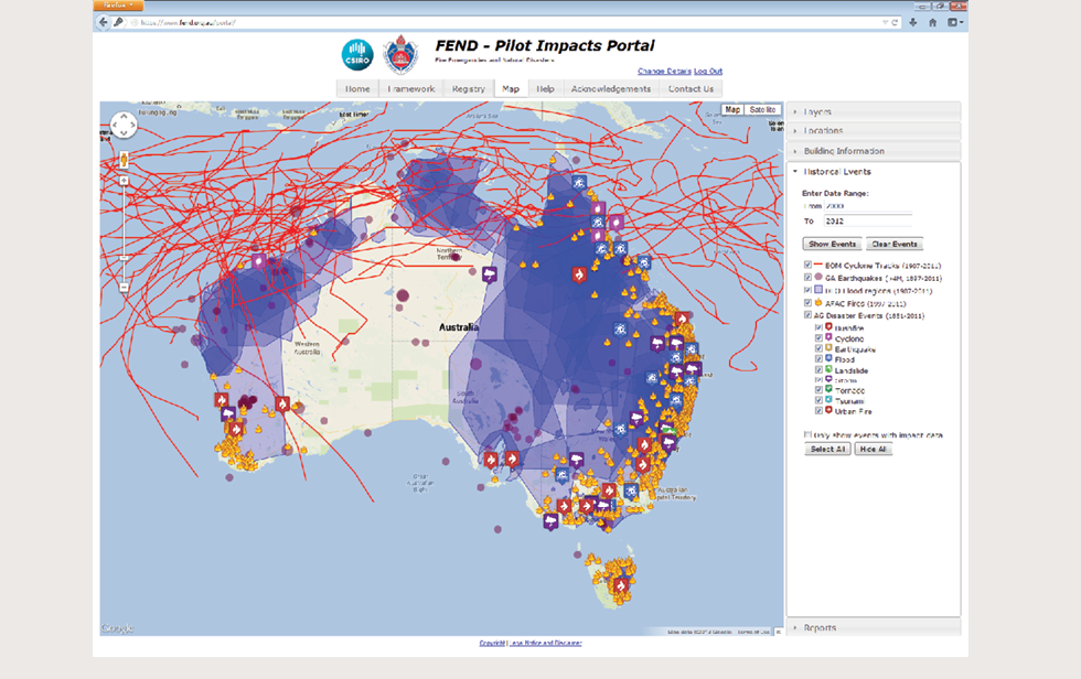 A screenshot shows the FEND Pilot Impacts Portal On it a map of