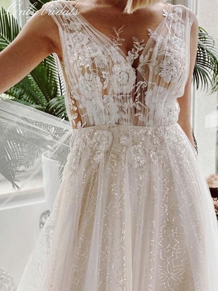 Onlybridals Luxury Sequins Appliques Wedding Dress 2020 Illusory Lace Boho Wedding Gowns Boho Wedding Gowns Applique Wedding Dress Wedding Dresses