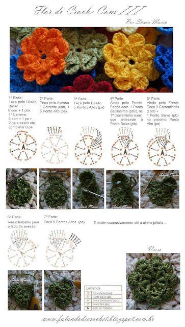 Crochet Cone Flower - Chart