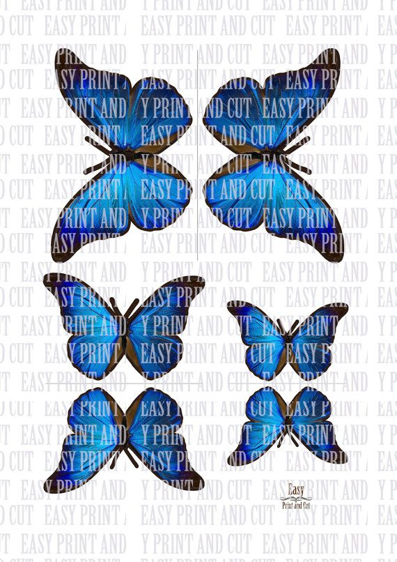 3D blue BUTTERFLIES . 3 sizes . 2 sides . by EasyPrintAndCut
