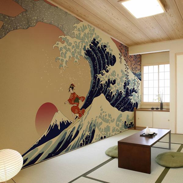 Kj 0114 波乗り美人図 和風の家の設計 壁紙 デザイン