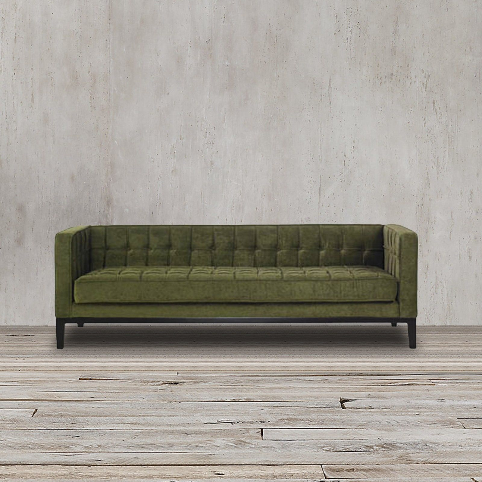 This green tuxedo sofa couch features a stylish retro and modern