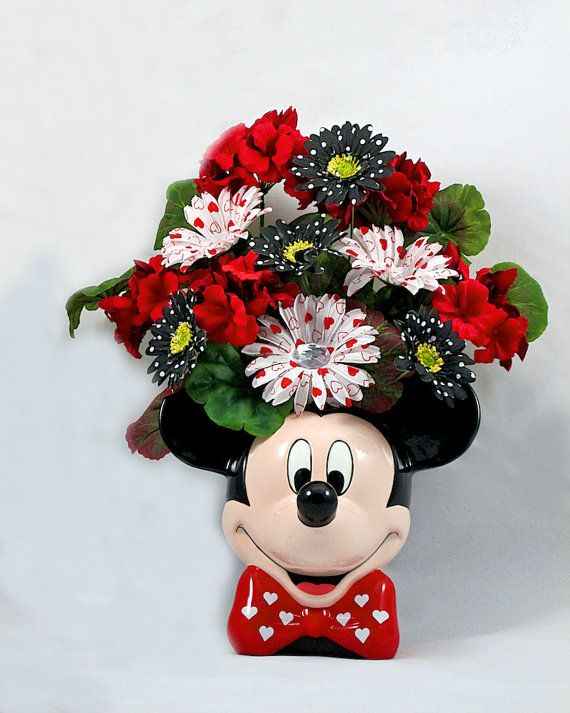 Fabulous Silk Floral Arrangement in a Mickey Mouse Ceramic Planter with  RP02