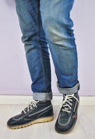 90s Navy Blue KICKERS Leather Ankle Boots UK 9 / EU 43 | Vulgar | ASOS