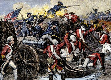 19. A picture showing a battle between the redcoats and the ...