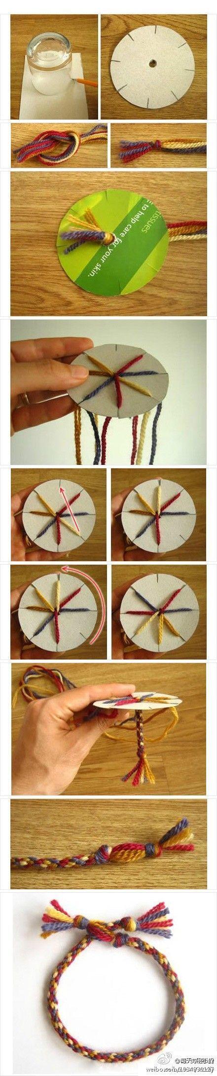 Mooie armband gemaakt op een ronde weefgetouw - - Bastel Ideen -