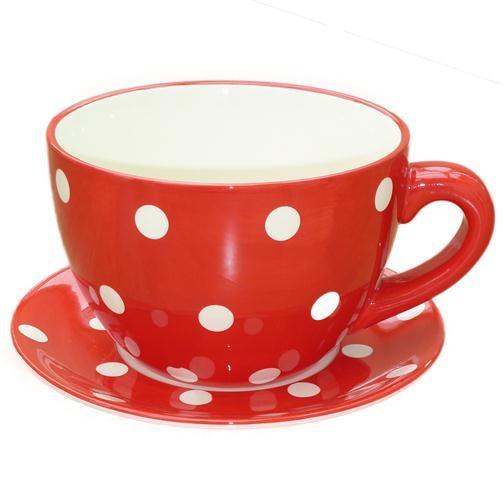 Giant Red White Spot Tea Cup Pot Planter Tea Cups Tea Mad Hatter Tea Party