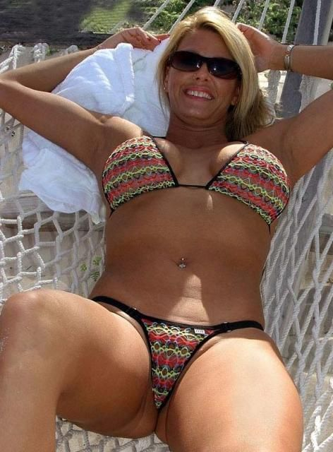 in Older blonde bikini woman