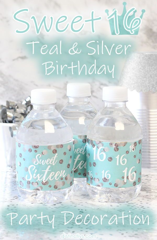 Sweet 16 Party Water Bottle Labels, Blue and Silver - 24 Count