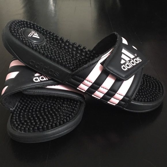 c561774c6f9bea Adidas Womens Slides Black light pink womens Adidas slides. Only worn once  w  socks but there is literally not a single sign of wear or tear.