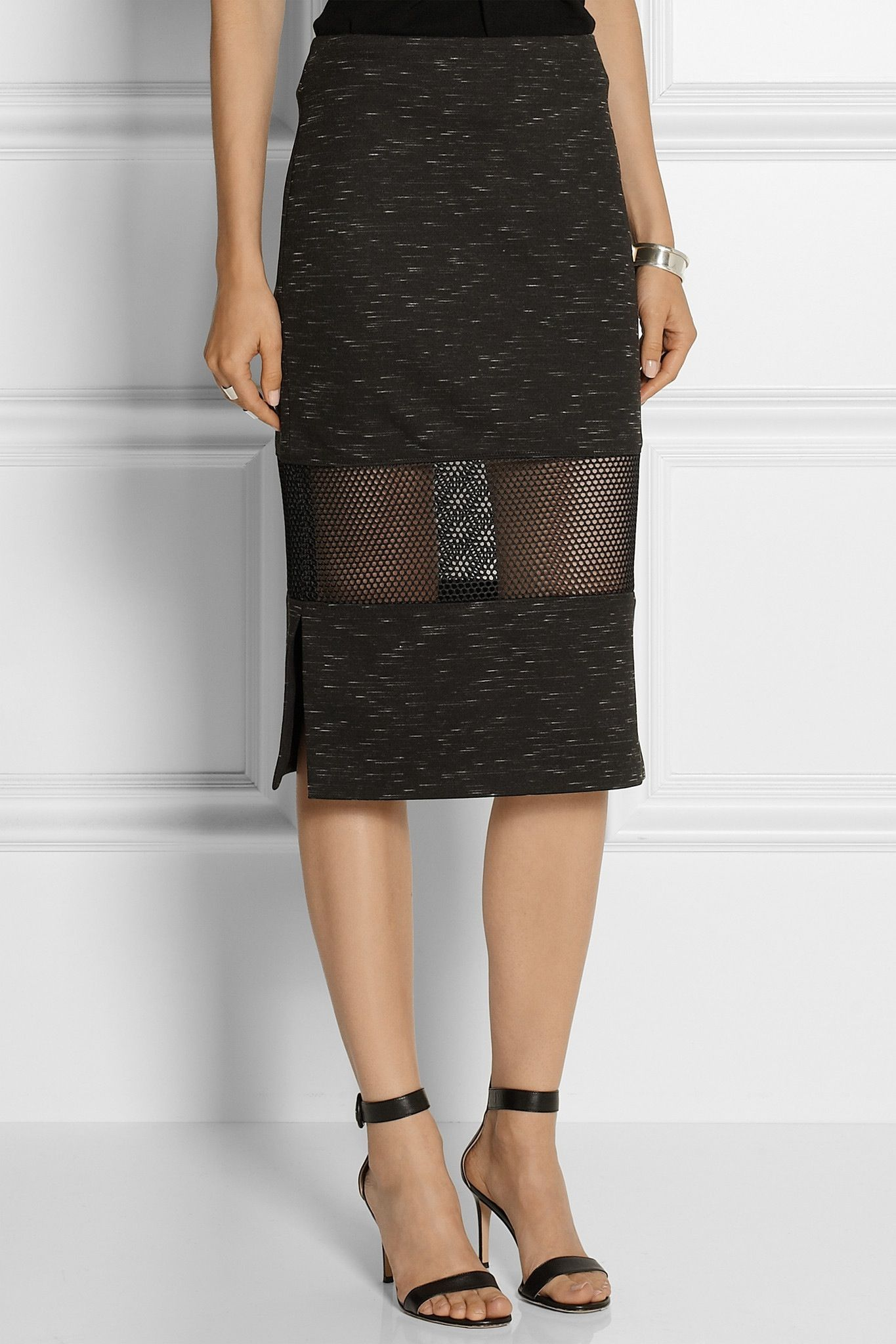 Mesh insert pencil skirt