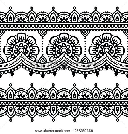 Mehndi Indian Henna Tattoo Seamless Pattern Tattoos Henna