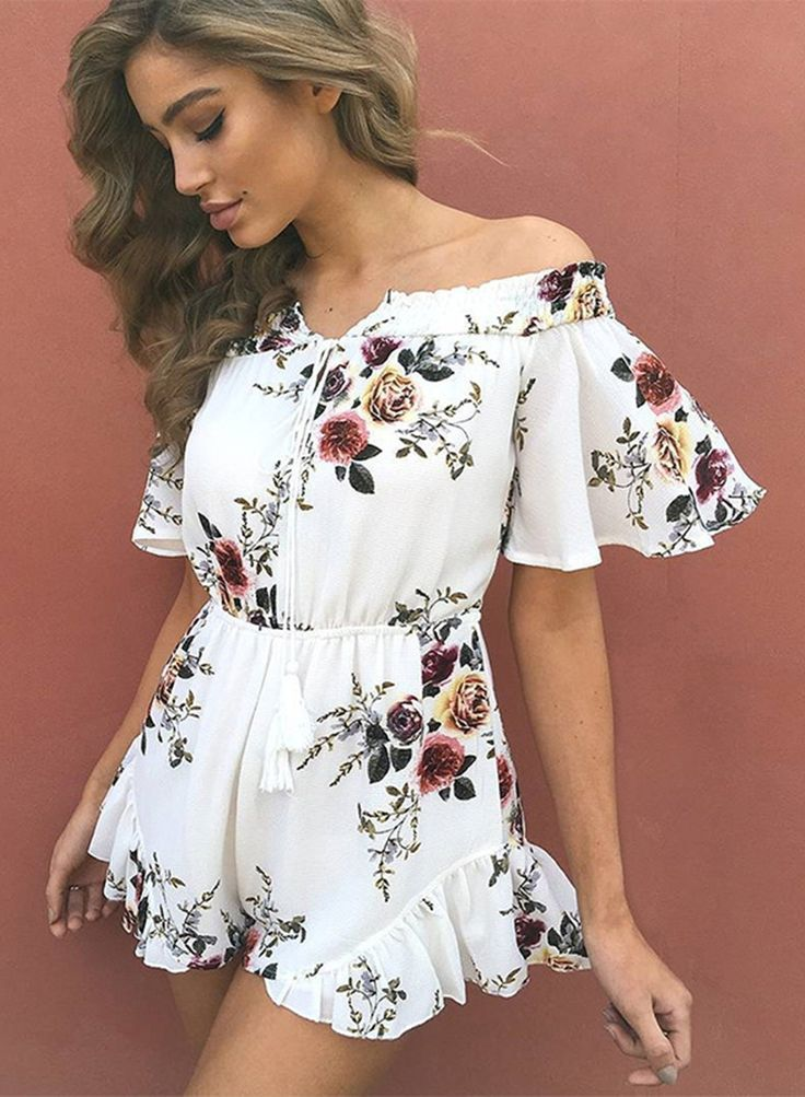 bb7d531ca8c Back To School Hairstyles   floral romperromper outfitssummer  outiftsholidayclothes for women Ruffle Romper