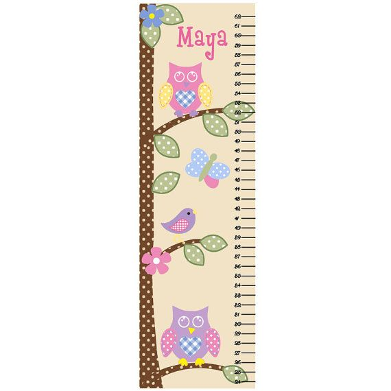 Thinking About Decorating The Girls Room In An Owl Theme Not Sure Since I Don T Have The Money T Childrens Growth Charts Growth Chart Growth Chart For Girls