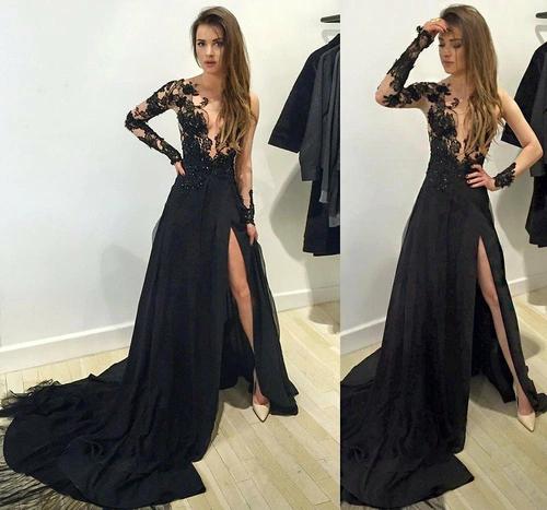 Long Sleeve Prom Dress,black Lace Long