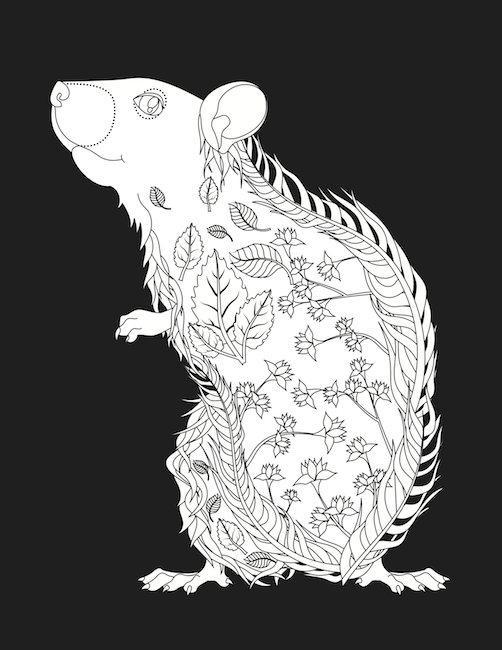 High Quality Leafy Animals Coloring Book Rat Mouse