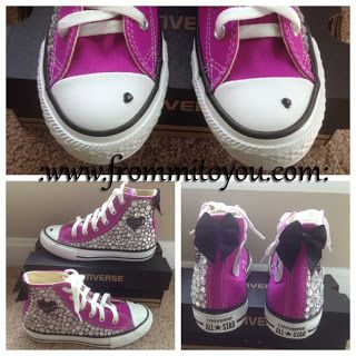 e056901d6e39 Embellished Junk Chuck sby From Mi To You  shoes  converse  chucktaylor   bling  kids  girl  bow  purple  heart  frommitoyou