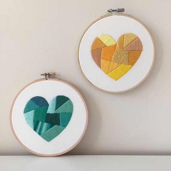 Heart Embroidery Pattern | Modern Hand Embroidery Kit | Beginning ...