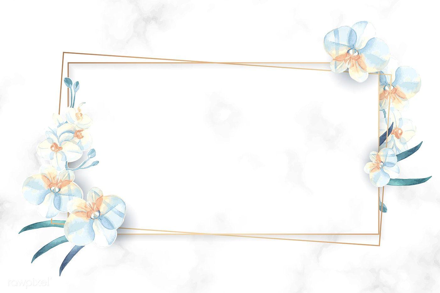 Download Premium Vector Of Rectangle Gold Flower Frame Vector 937039 Flower Frame Floral Poster Rose Frame