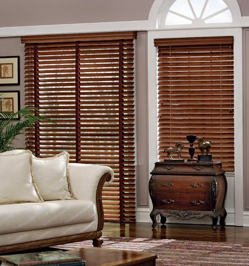 Traditions 2 Wood Blind Shown In Color Dark Cherry Wood Blinds