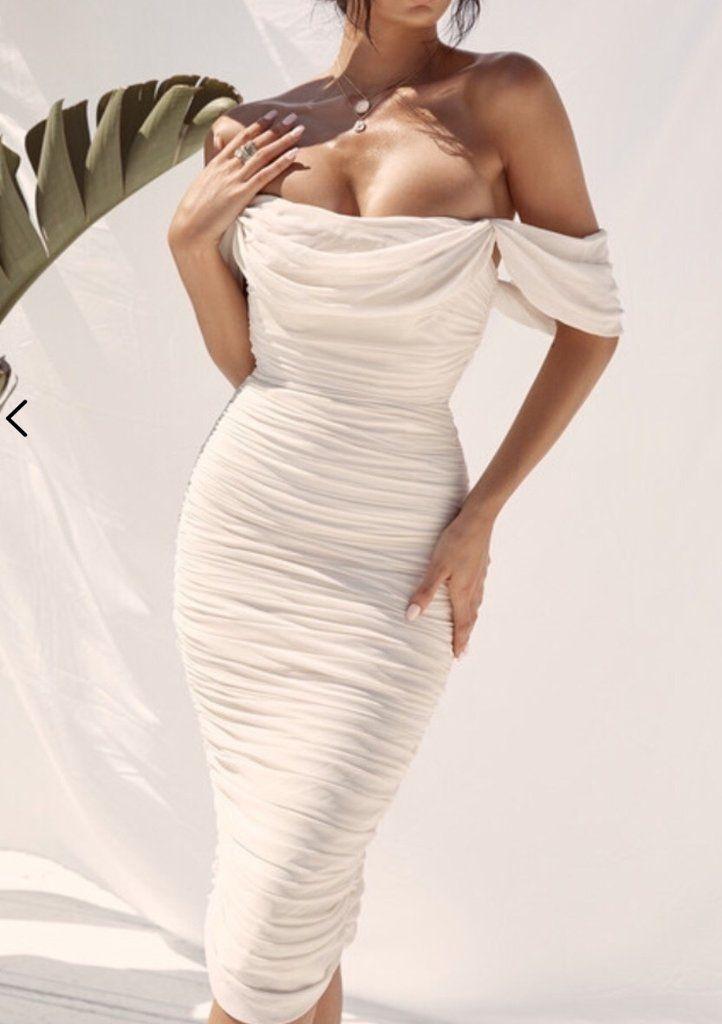 Nicoline Ivory Sexy Off Shoulder Midi Dress