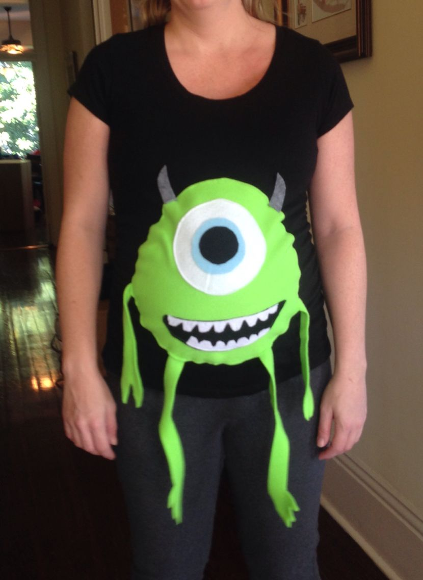 1dd650ef1016 Mike Wazowski pregnancy costume I made for my sister. So proud I free hand  cut all the pieces and sewed them to a pregnancy tshirt.