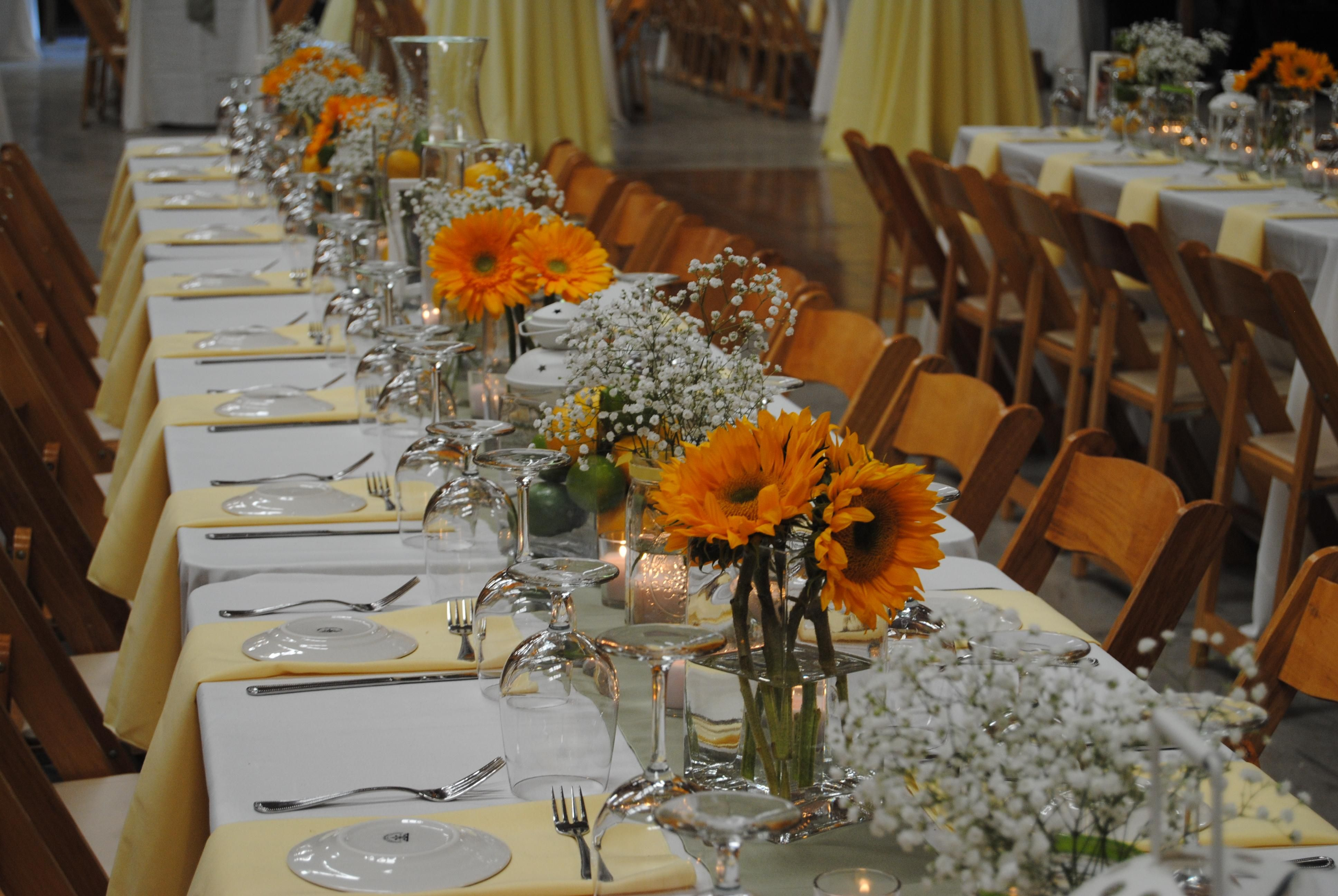 Table decoration for two - Sunflower Centerpiece An Idea For Square Rectangle Tables For A Small Square