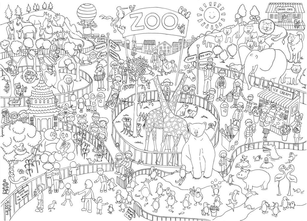 Really Giant Zoo Scene Poster Abstract Coloring Pages
