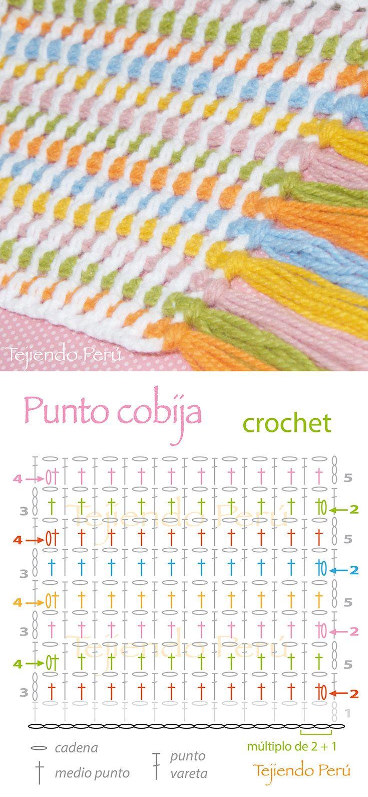 Crochet: punto cobija o a rayas! Diagrama y video tutorial ...