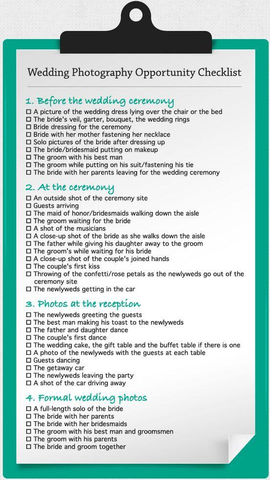Wedding Photo Checklist Wedding Ideas Pinterest
