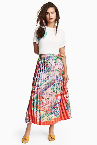 dff6a6cc2620b3 Pleated skirt - Coral/Patterned - Ladies | H&M GB 1 Plissierter Rock