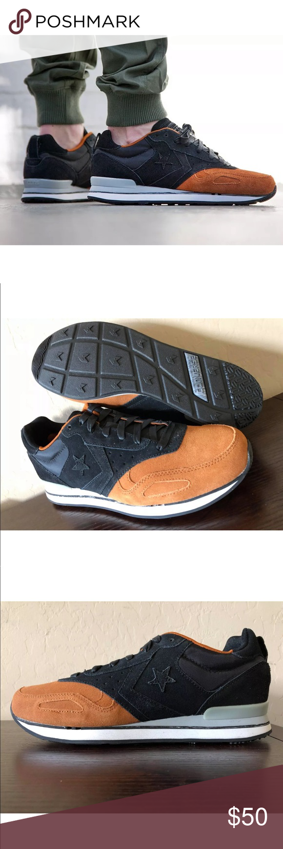 e45d3e1ca0e5 Men s Converse Malden Racer Ox Black Auburn AUTHENTIC CONVERSE MALDEN RACER  RETRO RUNNING SHOES MEN S SIZE 11