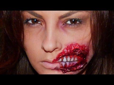 maquillage zombie bouche arrachee