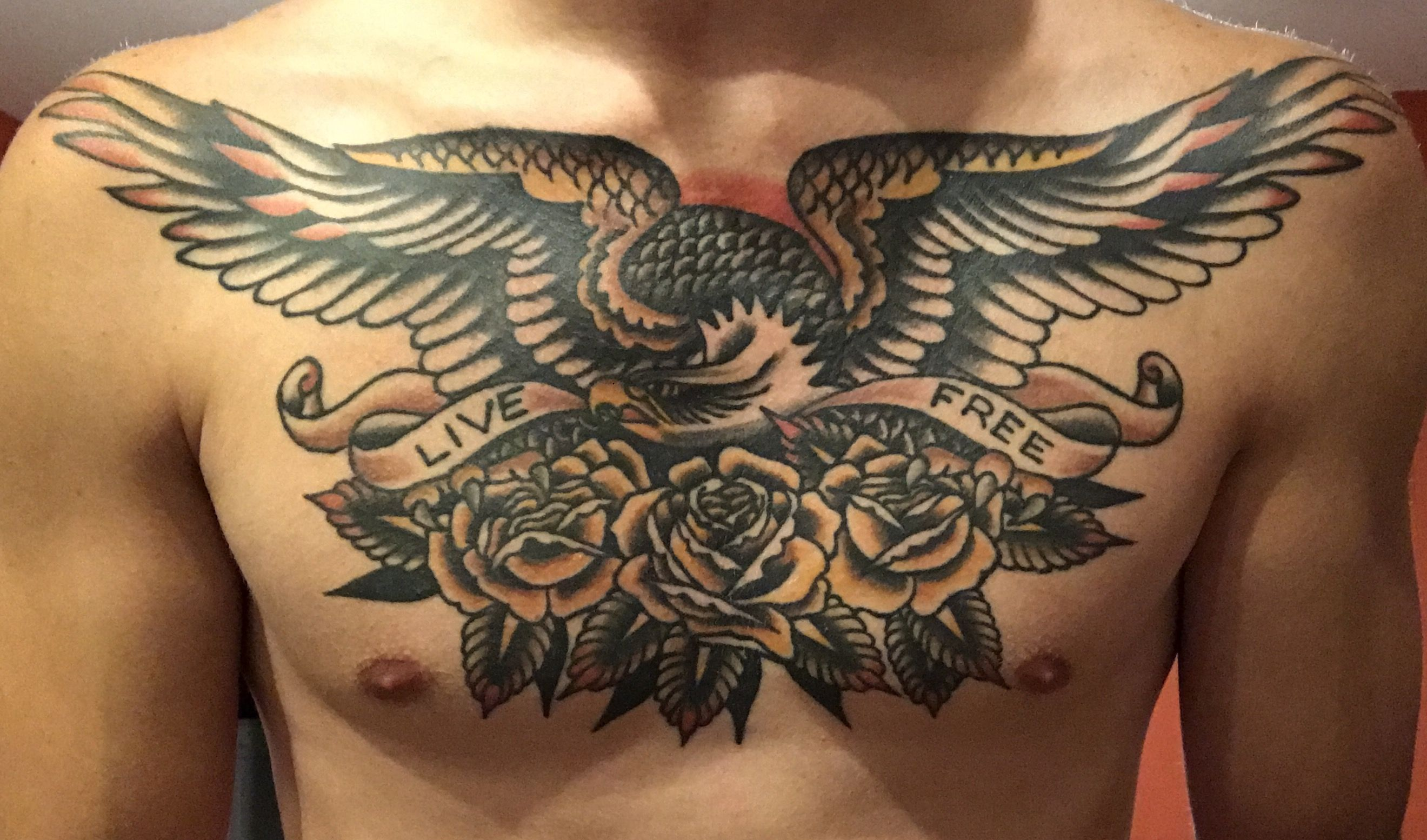 American Traditional Skull And Eagle: Chest Tattoo, Traditional Tattoo