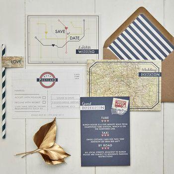 Vintage London Wedding Invitation