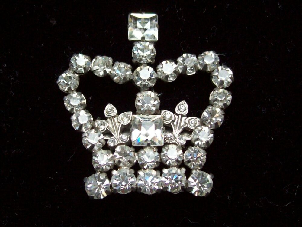 Vintage Jewellery Wonderful Crystal Diamante Royal Coronation Crown Brooch Pin Vintage Jewelry Jewelry Crystals