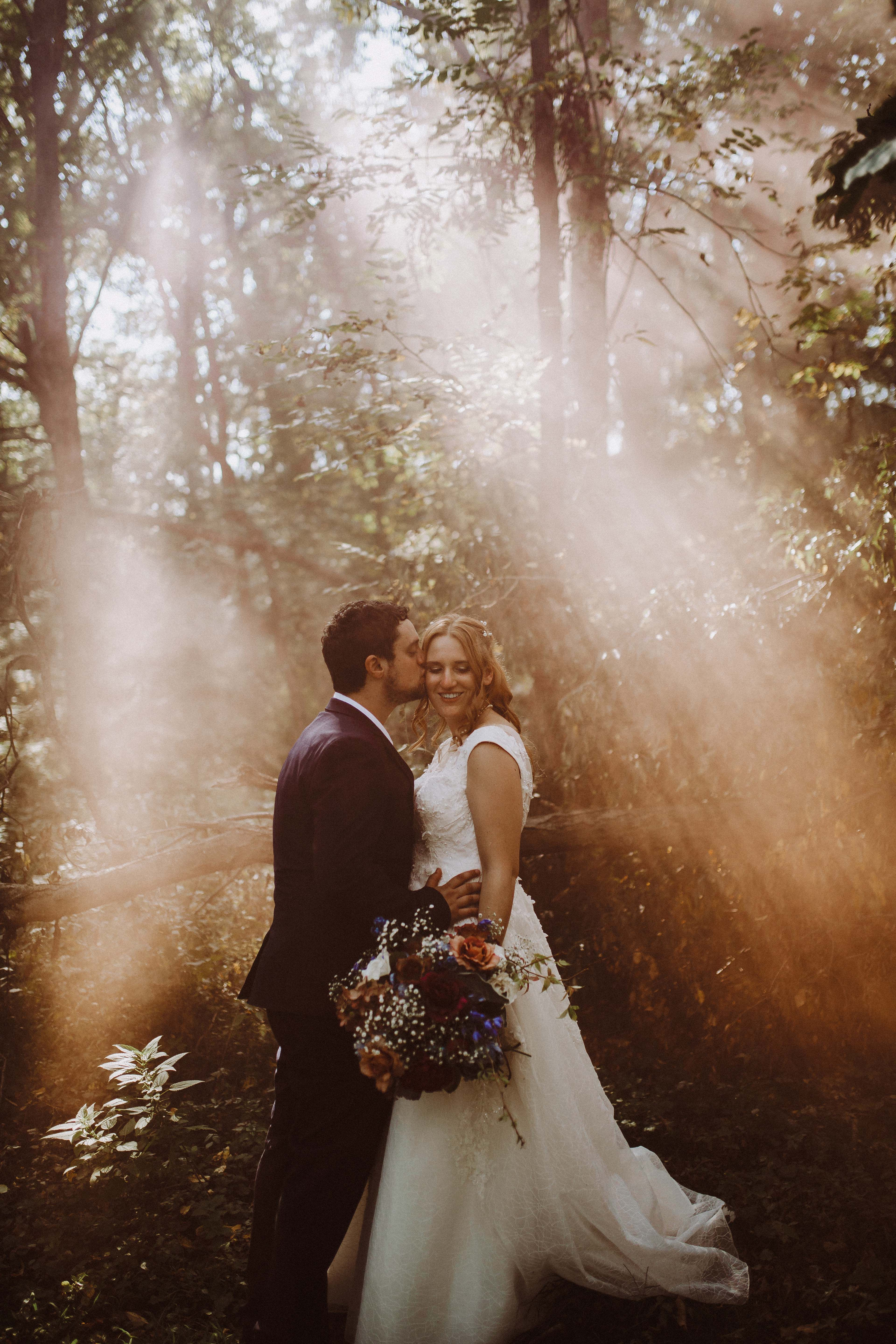 A Whimsical Wedding In The Woods Real Wedding Inspiration Wedding Couple Poses Photography Wedding Photography Poses Wedding Photography Bride