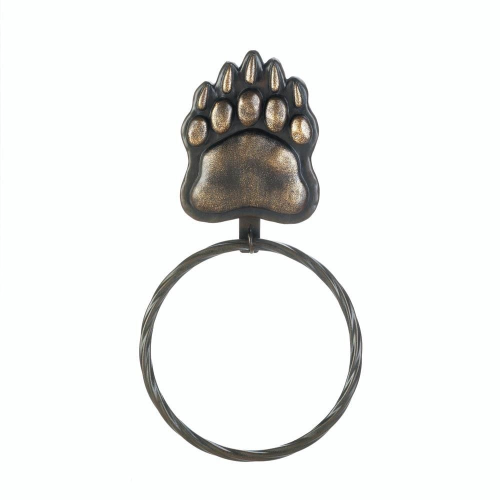 I love the look of this towel ring. I like that it has a bear paw at ...