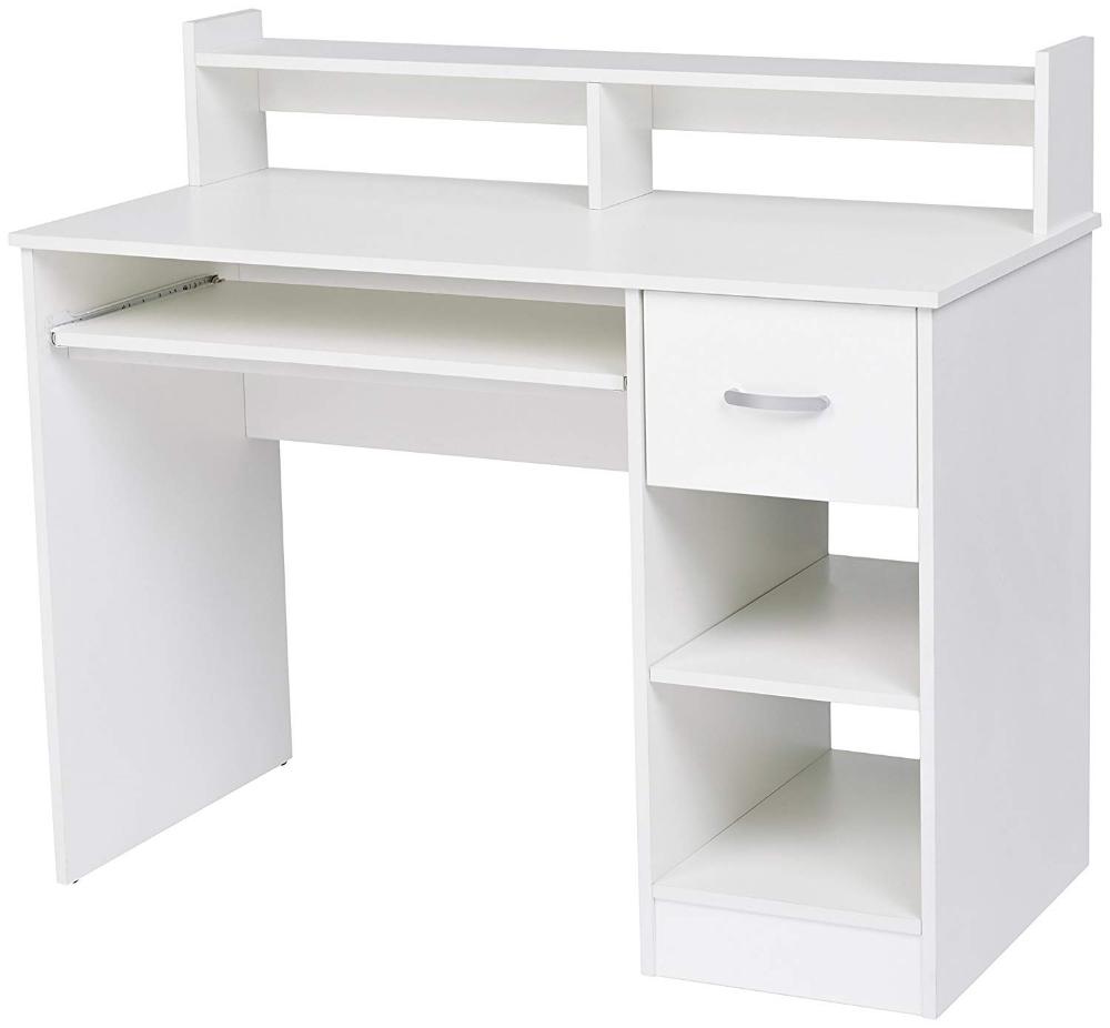 Amazon Com Rockpoint Kora Computer Desk With Keyboard Tray Daisy White Kitchen Dining Desk With Keyboard Tray White Computer Desk Desk With Drawers