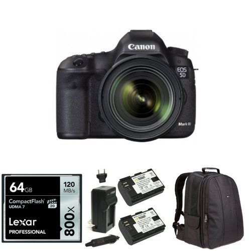 Canon EOS 5D Mark III 22.3 MP Full Frame CMOS DSLR Camera with EF 24 ...