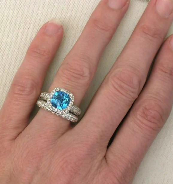 Mokume Blue Topaz Engagement Ring And Wedding Band Set 50