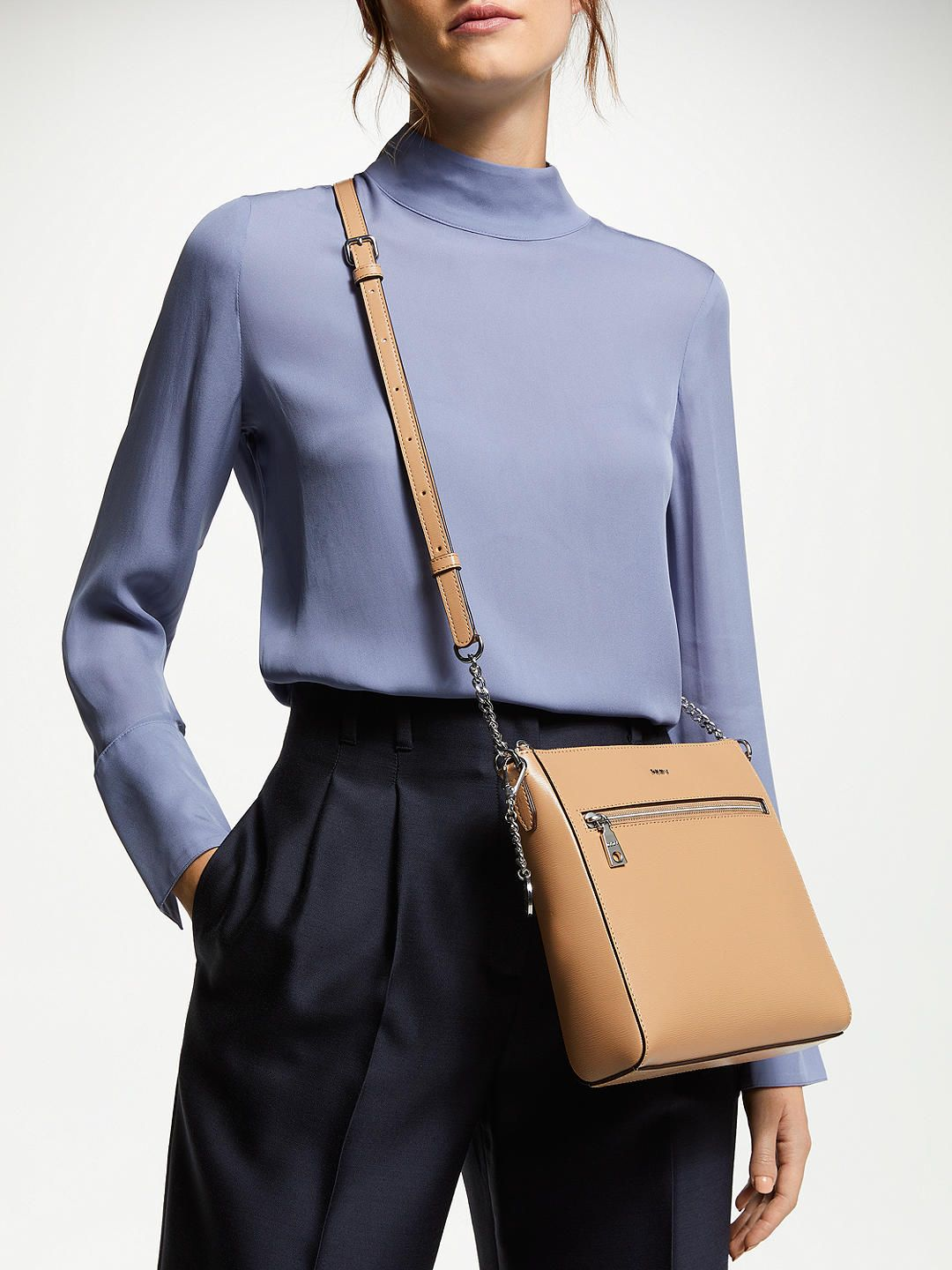 a92e3d6da BuyDKNY Bryant Leather Large Zip Top Cross Body Bag, Camel Online at  johnlewis.com