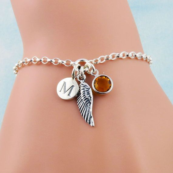 Personalized Angel Wing Bracelet Angels Jewelry Tiny Charm Initial Birthstone Sterling Silver