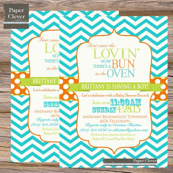 Boys Baby Shower Invitation Chevron, Bun In Oven, Aqua Blue, Orange, Green    Digital, Printable File On Etsy, $13.00