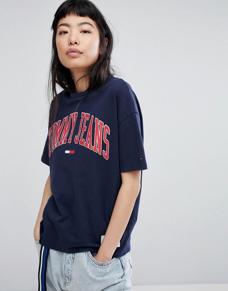 4cbb53239cc3 TOMMY JEANS COLLEGIATE LOGO T-SHIRT - NAVY.  tommyjeans  cloth ...