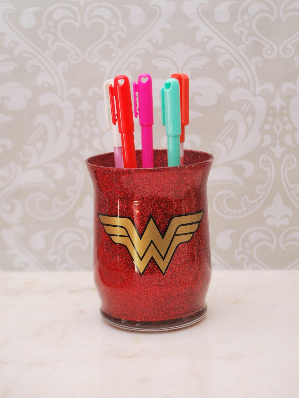 Wonder Woman Desktop Organizer Makeup Brush Holder Desk Accessory